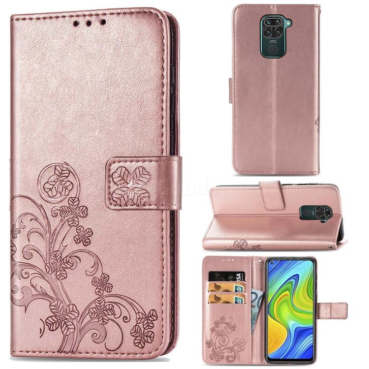 Embossing Imprint Four-Leaf Clover Leather Wallet Case for Xiaomi Redmi Note 9 - Rose Gold