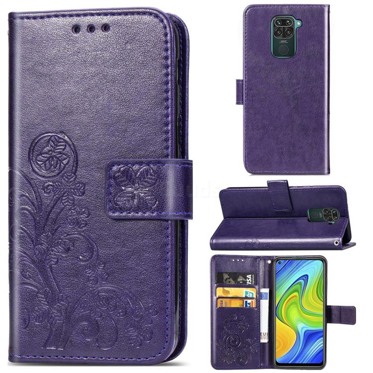 Embossing Imprint Four-Leaf Clover Leather Wallet Case for Xiaomi Redmi Note 9 - Purple