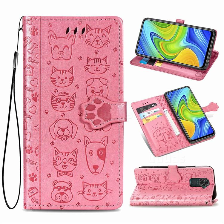 Embossing Dog Paw Kitten and Puppy Leather Wallet Case for Xiaomi Redmi Note 9 - Pink