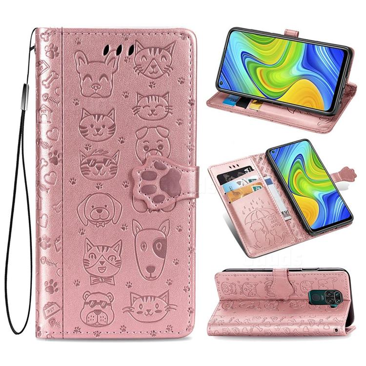Embossing Dog Paw Kitten and Puppy Leather Wallet Case for Xiaomi Redmi Note 9 - Rose Gold