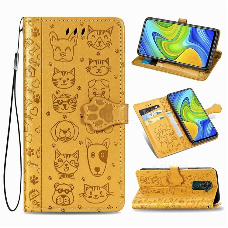 Embossing Dog Paw Kitten and Puppy Leather Wallet Case for Xiaomi Redmi Note 9 - Yellow