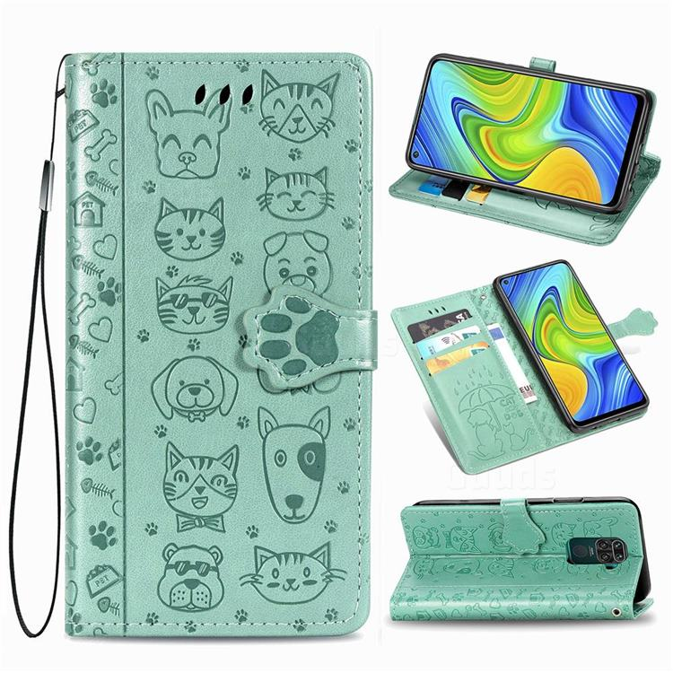 Embossing Dog Paw Kitten and Puppy Leather Wallet Case for Xiaomi Redmi Note 9 - Green
