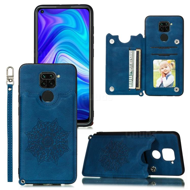 Luxury Mandala Multi-function Magnetic Card Slots Stand Leather Back Cover for Xiaomi Redmi Note 9 - Blue
