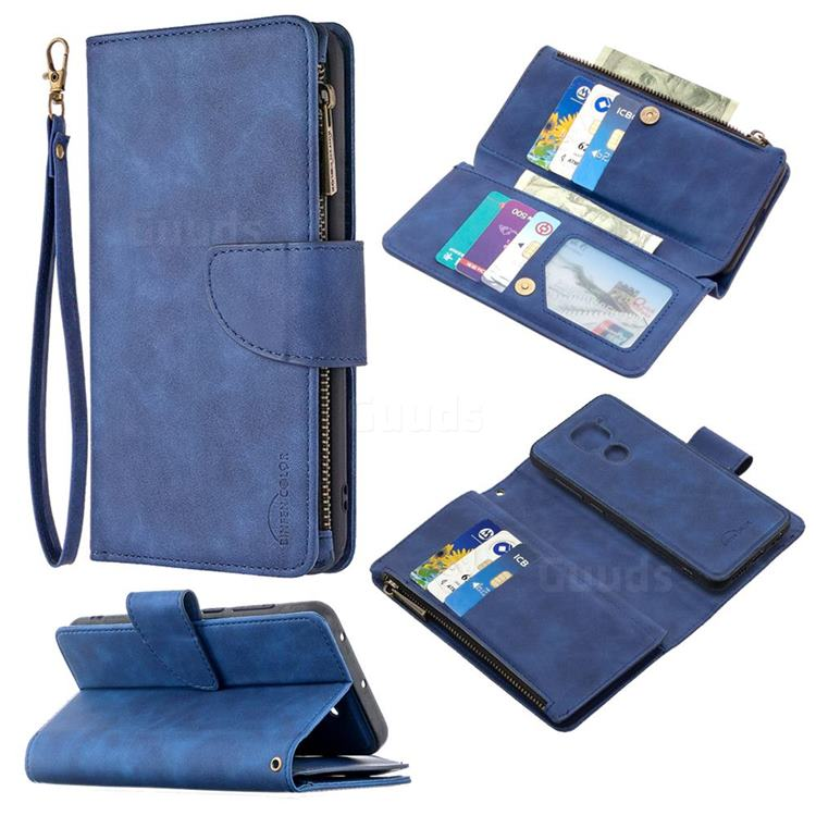 Binfen Color BF02 Sensory Buckle Zipper Multifunction Leather Phone Wallet for Xiaomi Redmi Note 9 - Blue