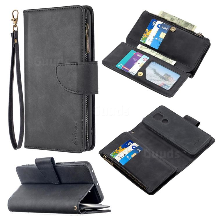 Binfen Color BF02 Sensory Buckle Zipper Multifunction Leather Phone Wallet for Xiaomi Redmi Note 9 - Black
