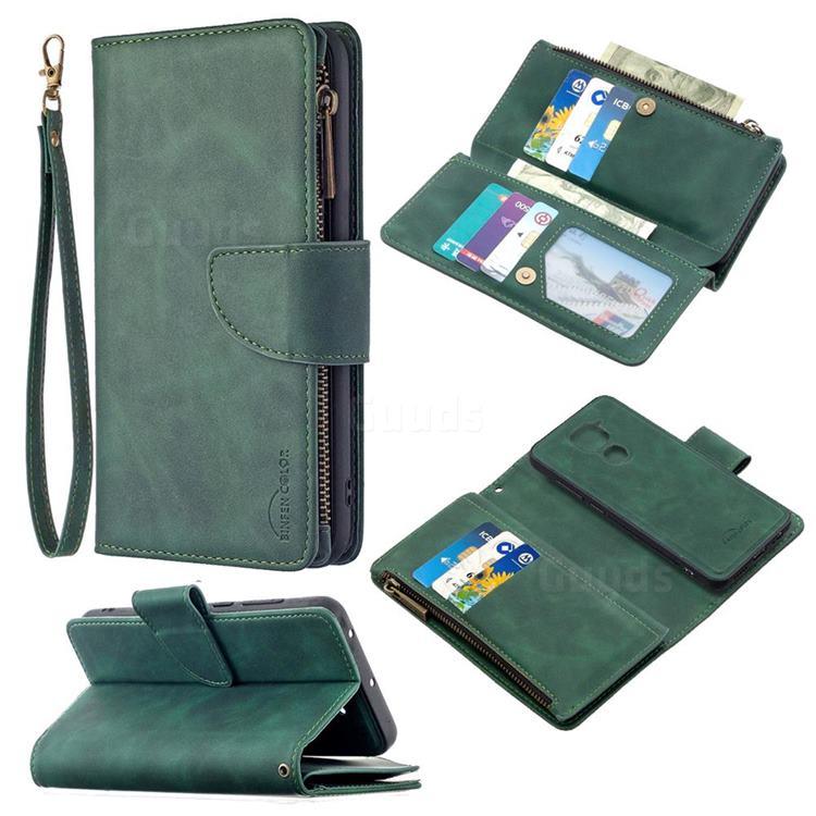Binfen Color BF02 Sensory Buckle Zipper Multifunction Leather Phone Wallet for Xiaomi Redmi Note 9 - Dark Green