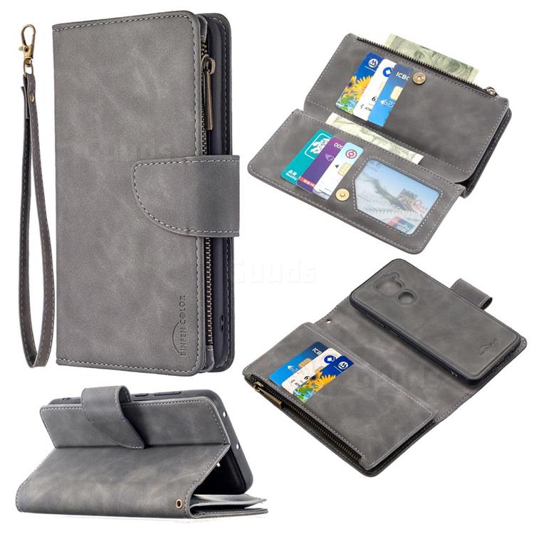 Binfen Color BF02 Sensory Buckle Zipper Multifunction Leather Phone Wallet for Xiaomi Redmi Note 9 - Gray