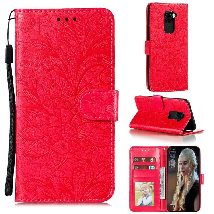 Intricate Embossing Lace Jasmine Flower Leather Wallet Case for Xiaomi Redmi Note 9 - Red