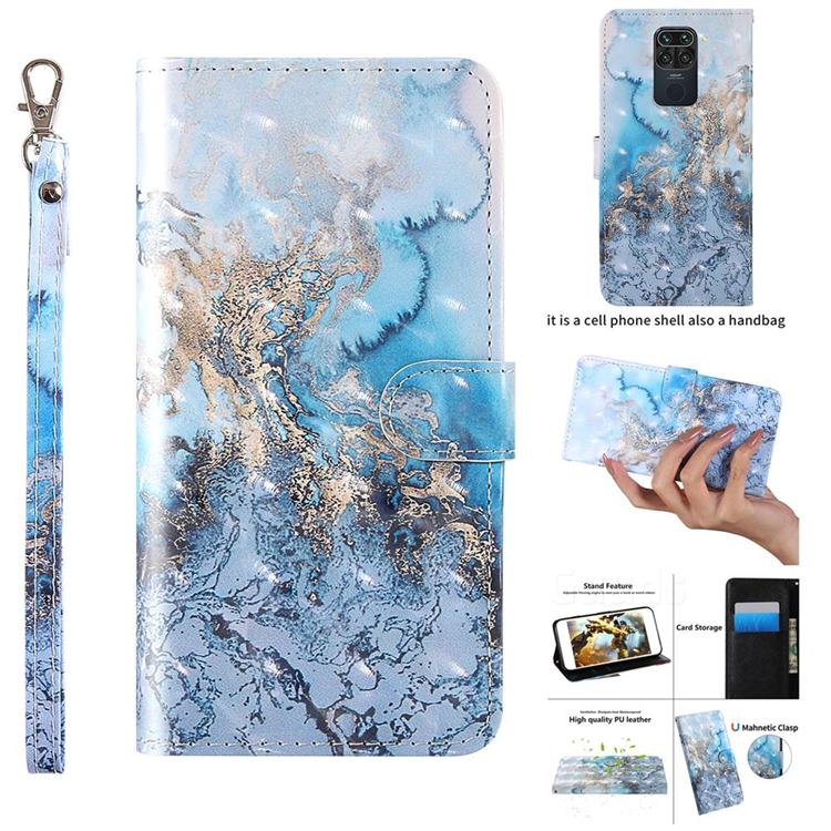 Milky Way Marble 3D Painted Leather Wallet Case for Xiaomi Redmi Note 9