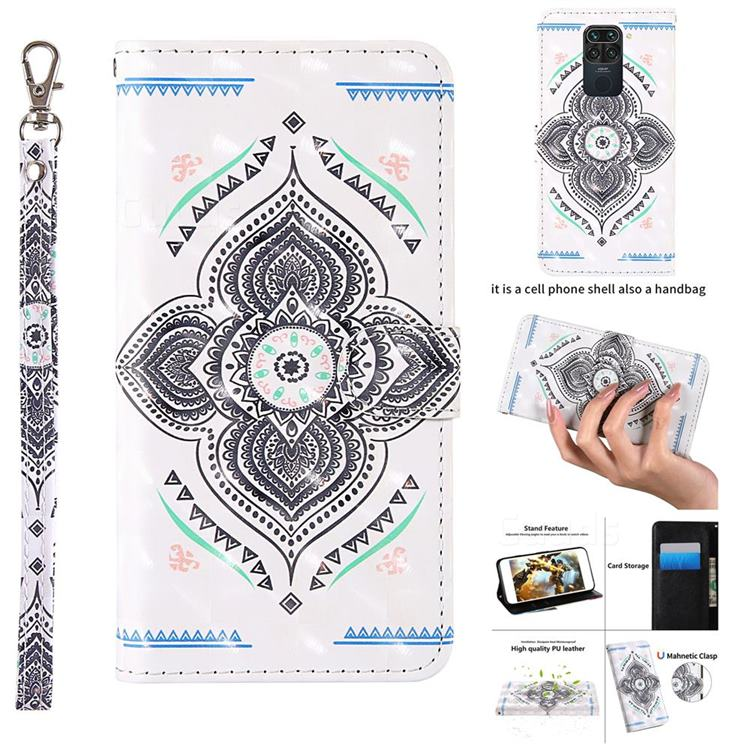 Mandala Totem 3D Painted Leather Wallet Case for Xiaomi Redmi Note 9