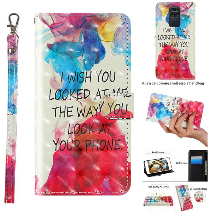 Look at Phone 3D Painted Leather Wallet Case for Xiaomi Redmi Note 9