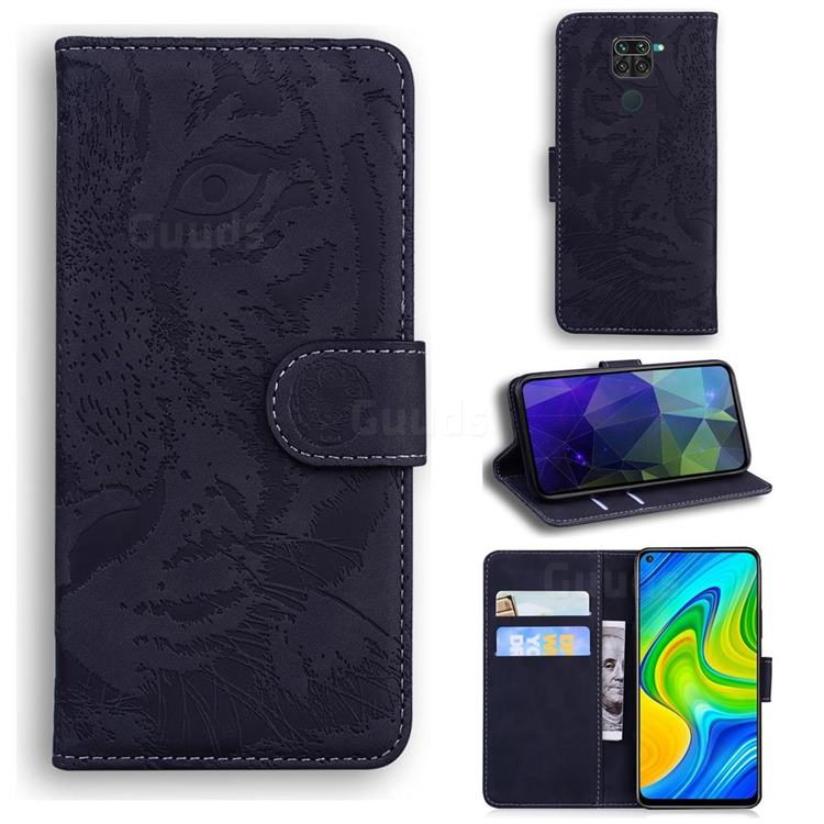 Intricate Embossing Tiger Face Leather Wallet Case for Xiaomi Redmi Note 9 - Black