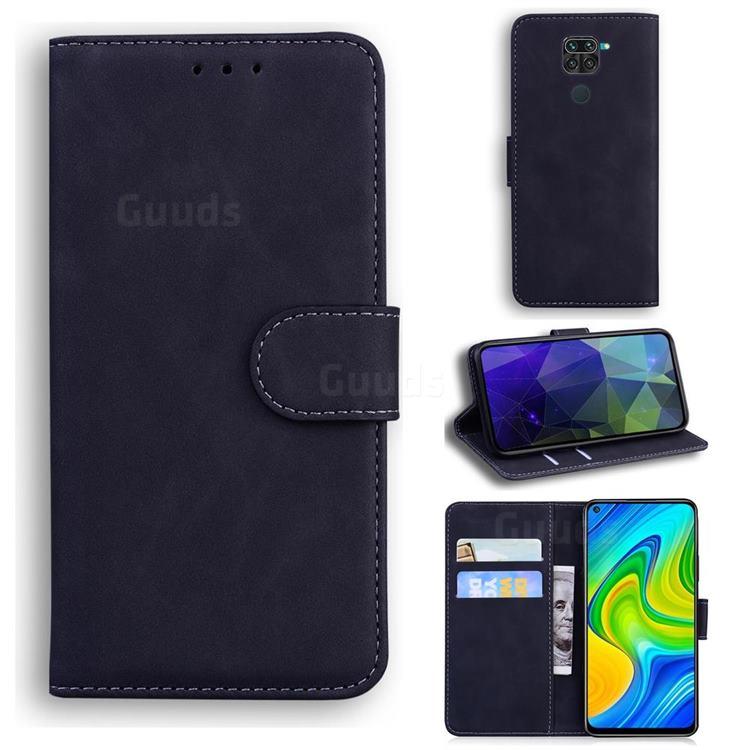 Retro Classic Skin Feel Leather Wallet Phone Case for Xiaomi Redmi Note 9 - Black
