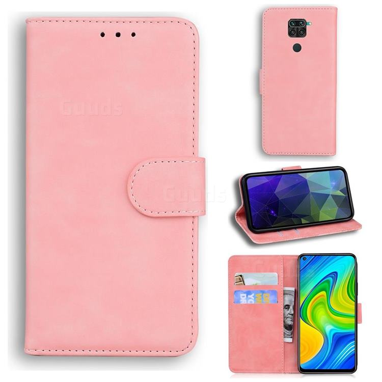 Retro Classic Skin Feel Leather Wallet Phone Case for Xiaomi Redmi Note 9 - Pink