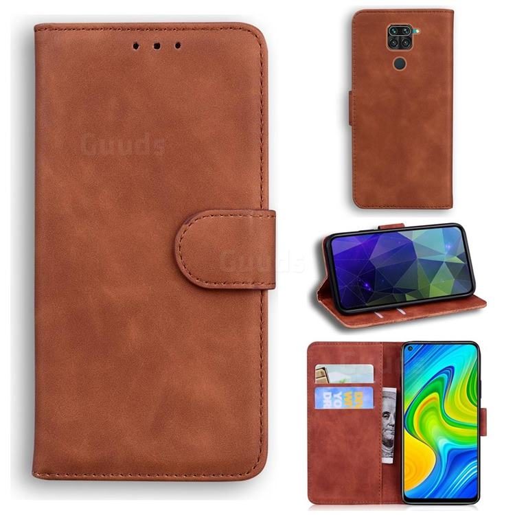 Retro Classic Skin Feel Leather Wallet Phone Case for Xiaomi Redmi Note 9 - Brown