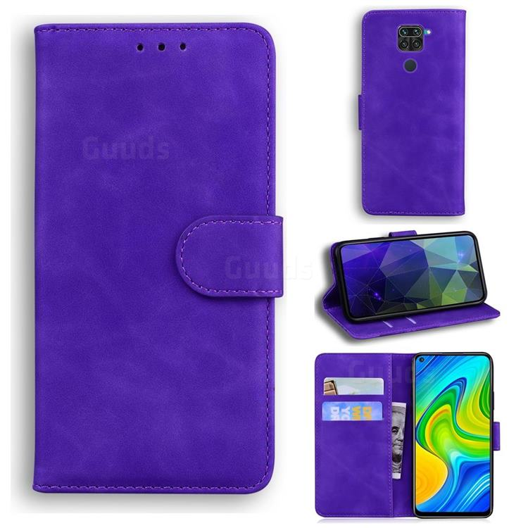 Retro Classic Skin Feel Leather Wallet Phone Case for Xiaomi Redmi Note 9 - Purple