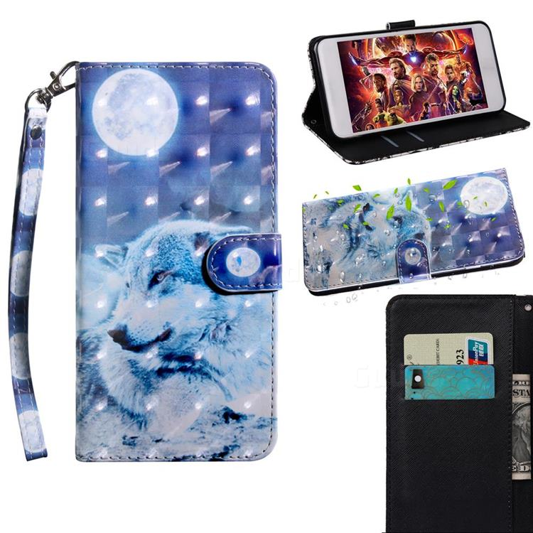 Moon Wolf 3D Painted Leather Wallet Case for Xiaomi Redmi Note 9