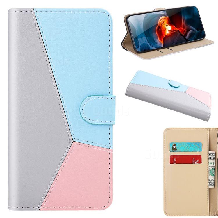 Tricolour Stitching Wallet Flip Cover for Xiaomi Redmi Note 9 - Gray