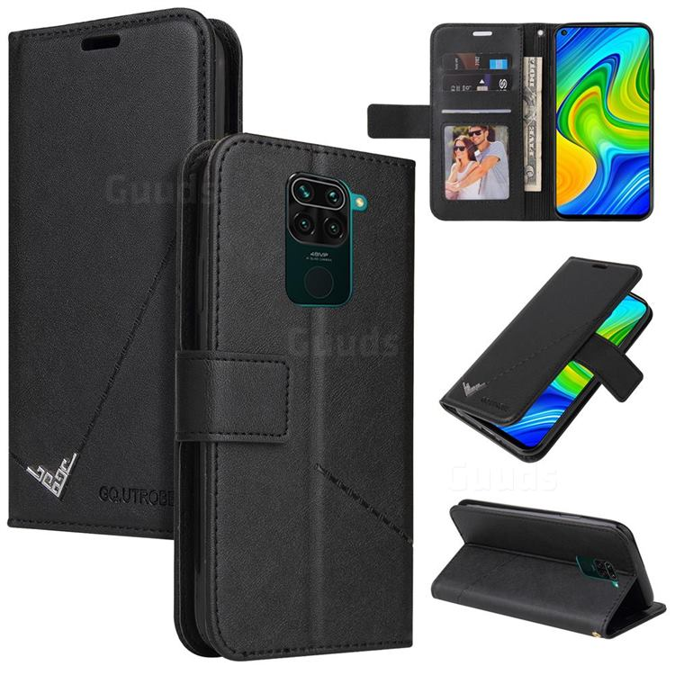 GQ.UTROBE Right Angle Silver Pendant Leather Wallet Phone Case for Xiaomi Redmi Note 9 - Black