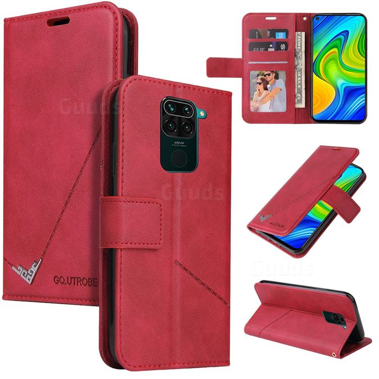 GQ.UTROBE Right Angle Silver Pendant Leather Wallet Phone Case for Xiaomi Redmi Note 9 - Red