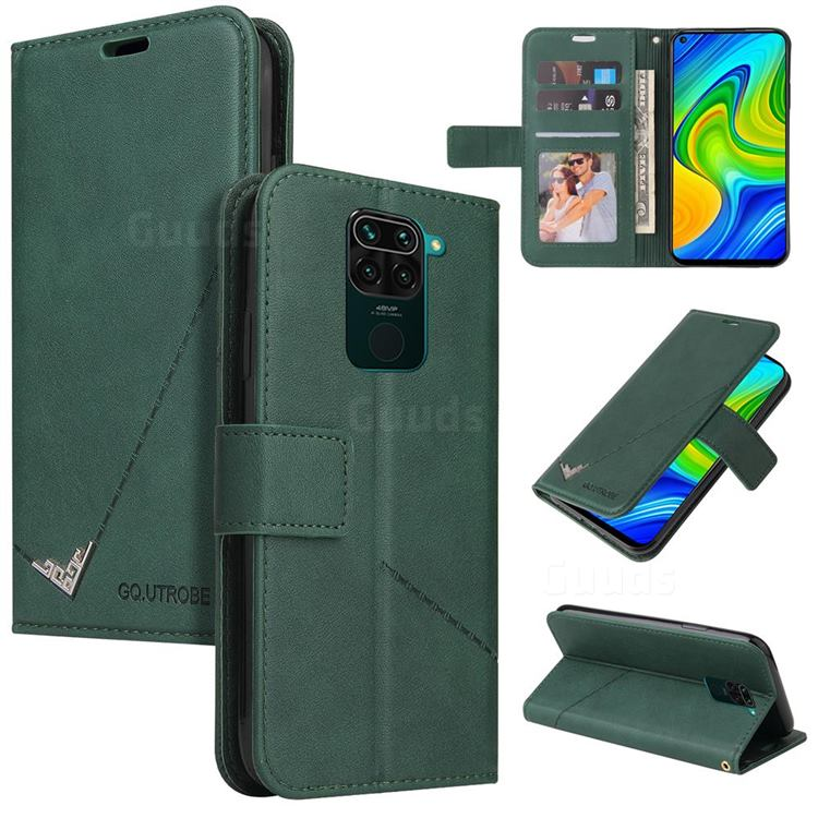 GQ.UTROBE Right Angle Silver Pendant Leather Wallet Phone Case for Xiaomi Redmi Note 9 - Green