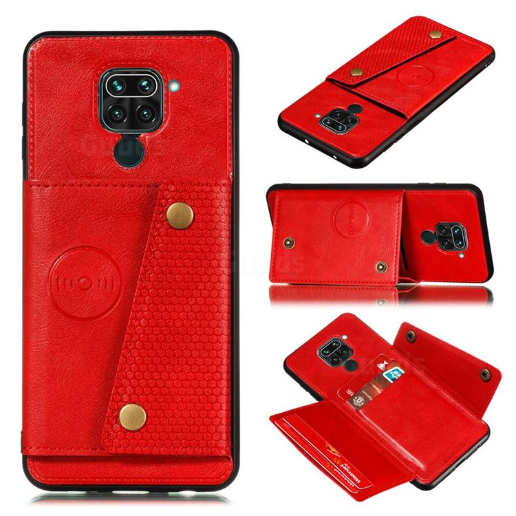 Retro Multifunction Card Slots Stand Leather Coated Phone Back Cover for Xiaomi Redmi Note 9 - Red