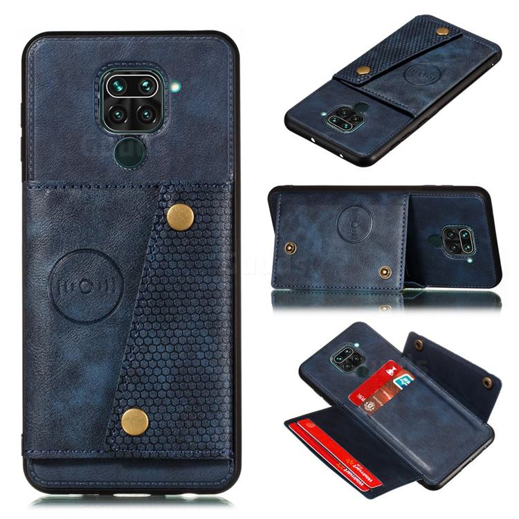 Retro Multifunction Card Slots Stand Leather Coated Phone Back Cover for Xiaomi Redmi Note 9 - Blue