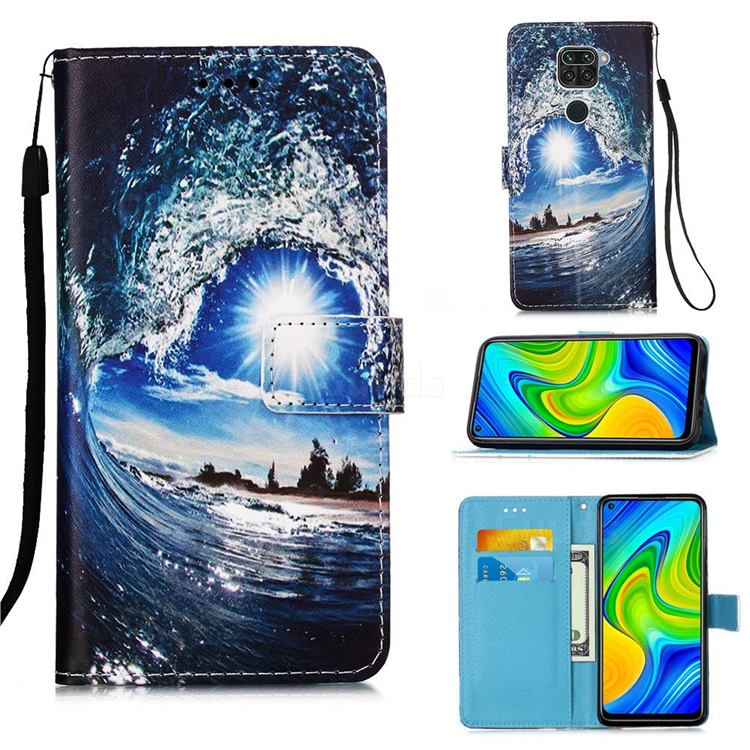 Waves and Sun Matte Leather Wallet Phone Case for Xiaomi Redmi Note 9