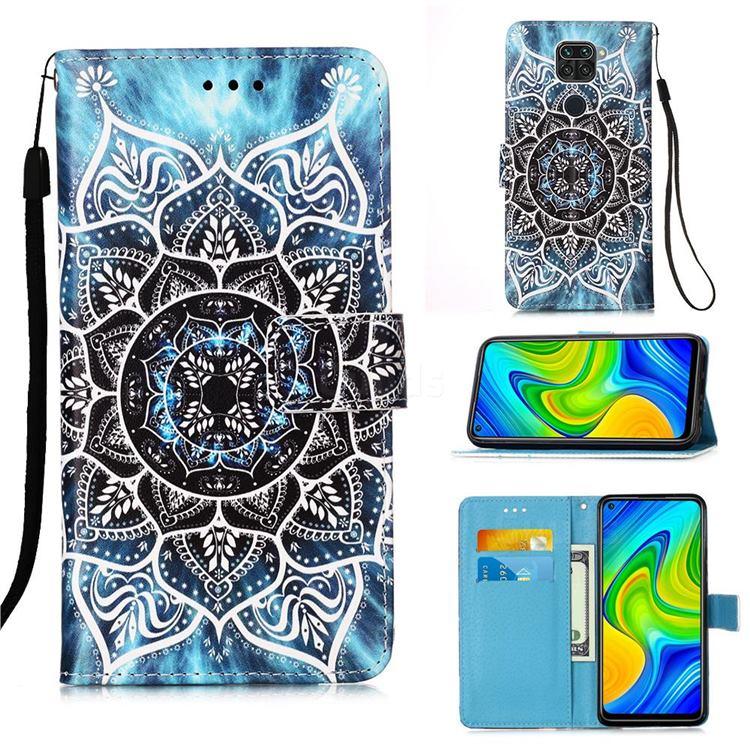 Underwater Mandala Matte Leather Wallet Phone Case for Xiaomi Redmi Note 9