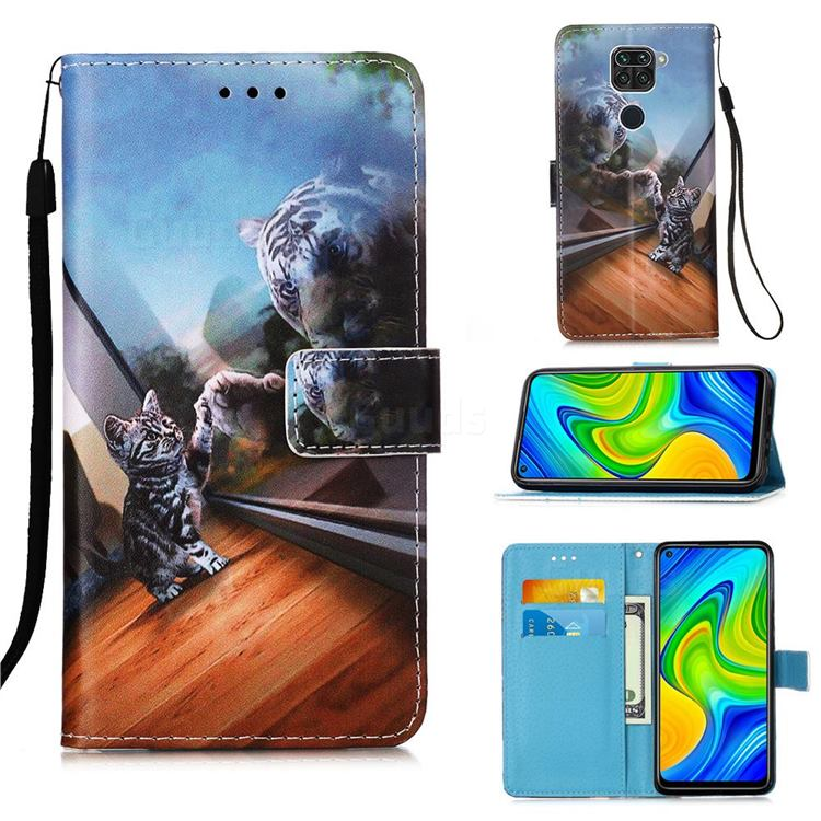 Mirror Cat Matte Leather Wallet Phone Case for Xiaomi Redmi Note 9