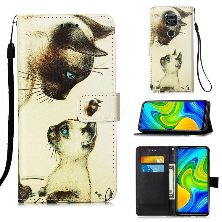 Cat Confrontation Matte Leather Wallet Phone Case for Xiaomi Redmi Note 9