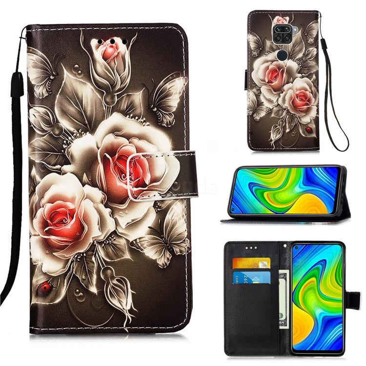 Black Rose Matte Leather Wallet Phone Case for Xiaomi Redmi Note 9