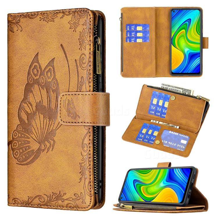 Binfen Color Imprint Vivid Butterfly Buckle Zipper Multi-function Leather Phone Wallet for Xiaomi Redmi Note 9 - Brown