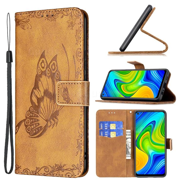 Binfen Color Imprint Vivid Butterfly Leather Wallet Case for Xiaomi Redmi Note 9 - Brown