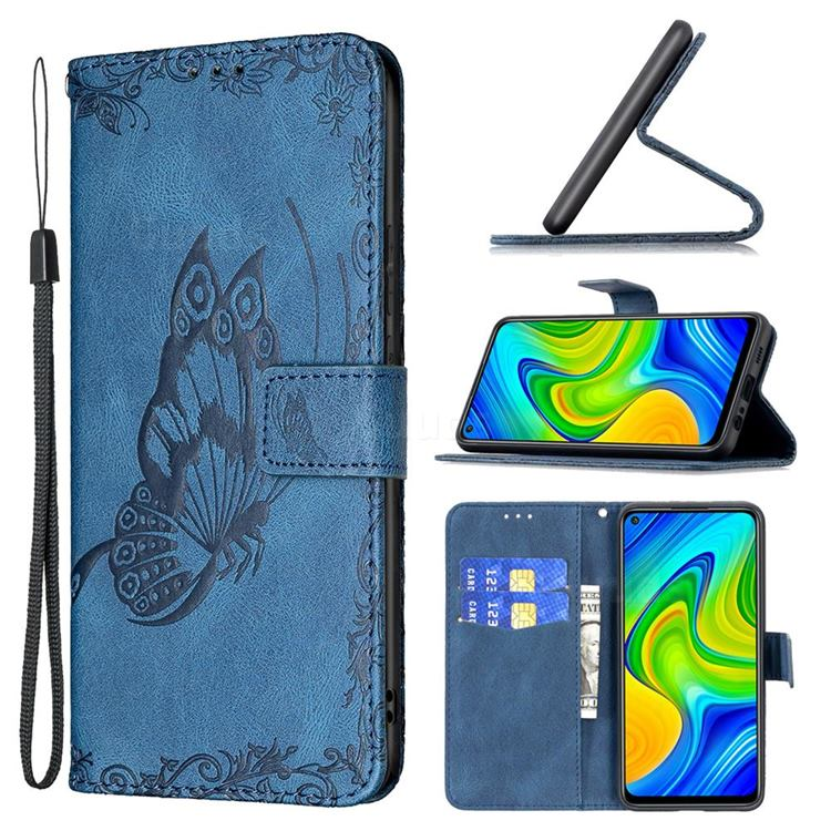Binfen Color Imprint Vivid Butterfly Leather Wallet Case for Xiaomi Redmi Note 9 - Blue