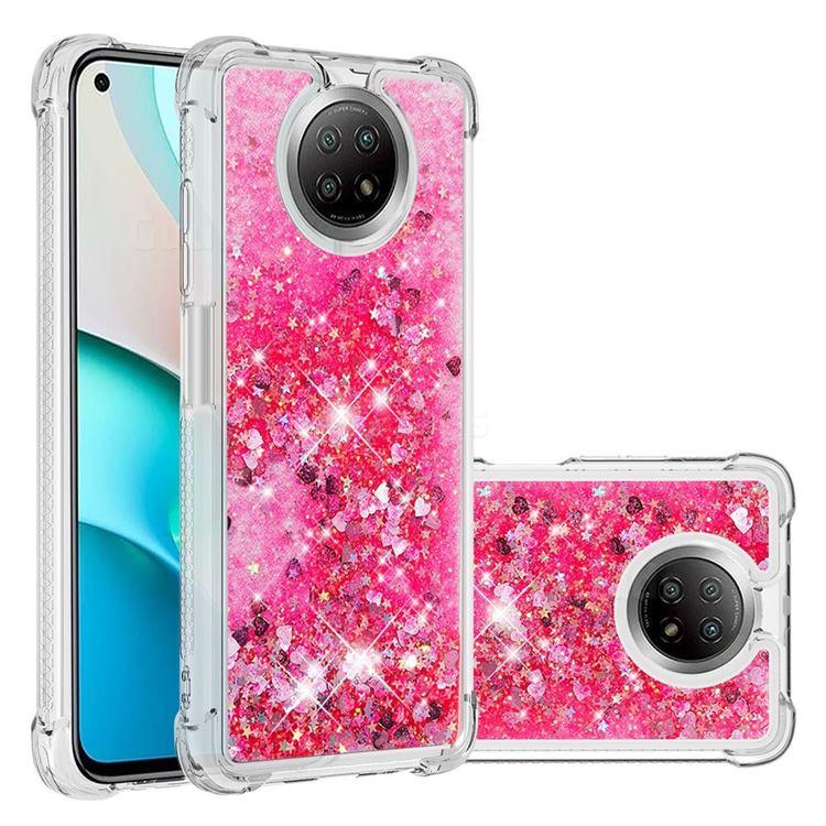Dynamic Liquid Glitter Sand Quicksand TPU Case for Xiaomi Redmi Note 9 5G - Pink Love Heart