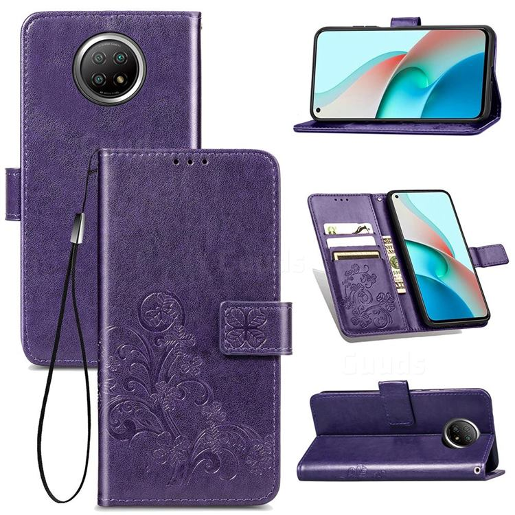 Embossing Imprint Four-Leaf Clover Leather Wallet Case for Xiaomi Redmi Note 9 5G - Purple