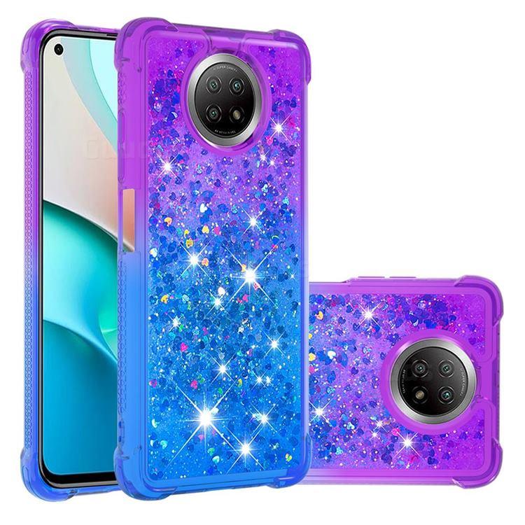 Rainbow Gradient Liquid Glitter Quicksand Sequins Phone Case for Xiaomi Redmi Note 9 5G - Purple Blue