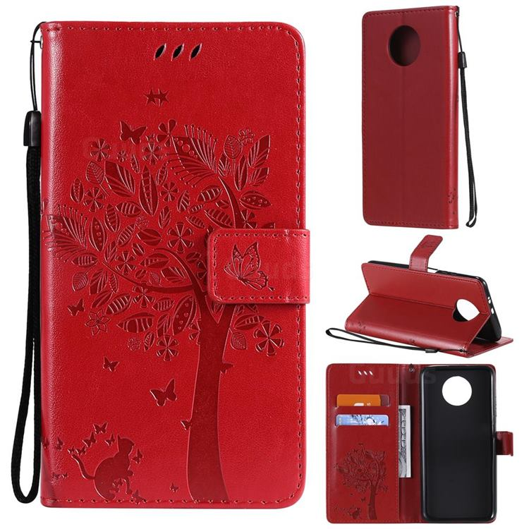 Embossing Butterfly Tree Leather Wallet Case for Xiaomi Redmi Note 9 5G - Red
