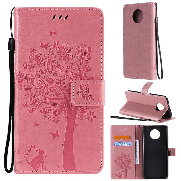 Embossing Butterfly Tree Leather Wallet Case for Xiaomi Redmi Note 9 5G - Pink
