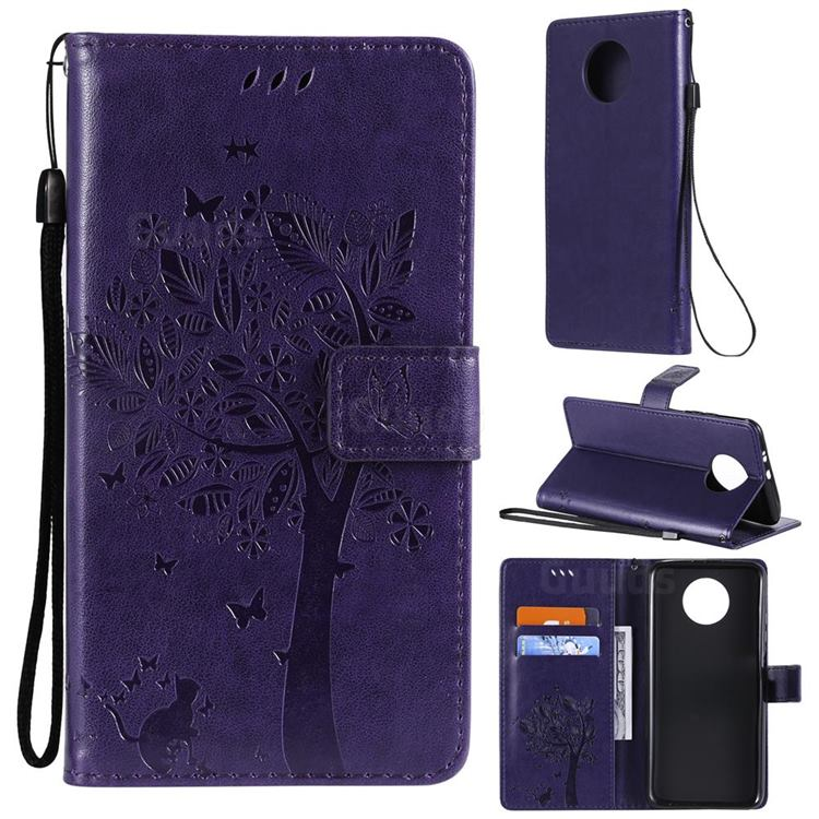 Embossing Butterfly Tree Leather Wallet Case for Xiaomi Redmi Note 9 5G - Purple