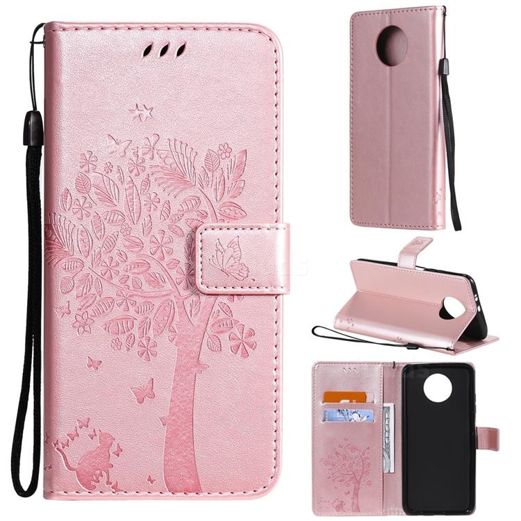 Embossing Butterfly Tree Leather Wallet Case for Xiaomi Redmi Note 9 5G - Rose Pink