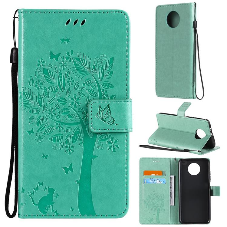 Embossing Butterfly Tree Leather Wallet Case for Xiaomi Redmi Note 9 5G - Cyan