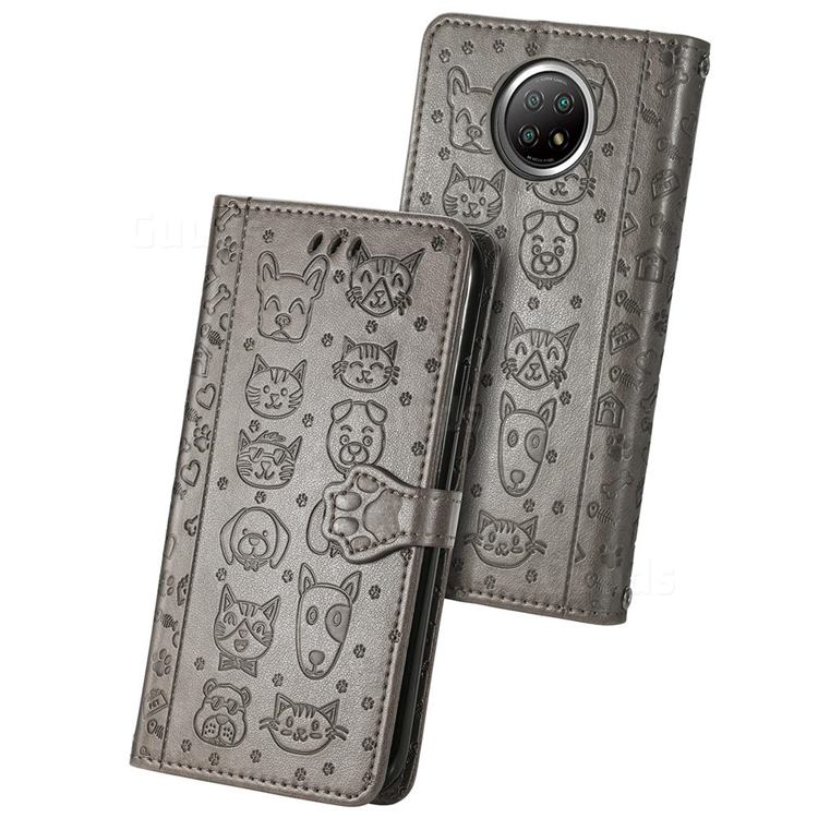 Embossing Dog Paw Kitten and Puppy Leather Wallet Case for Xiaomi Redmi Note 9 5G - Gray