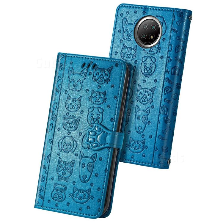 Embossing Dog Paw Kitten and Puppy Leather Wallet Case for Xiaomi Redmi Note 9 5G - Blue