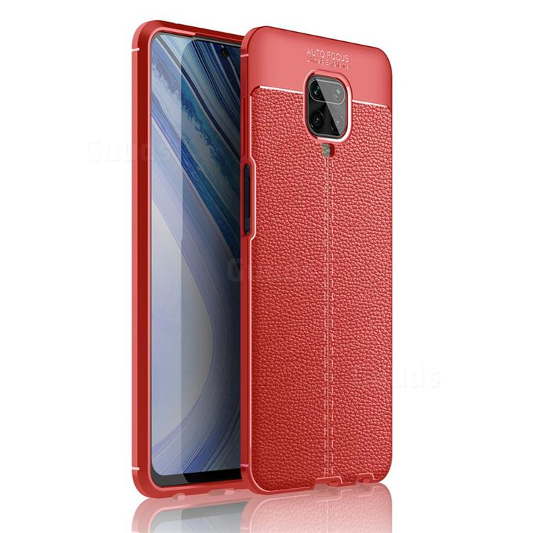 Luxury Auto Focus Litchi Texture Silicone TPU Back Cover for Xiaomi Redmi Note 9s / Note9 Pro / Note 9 Pro Max - Red