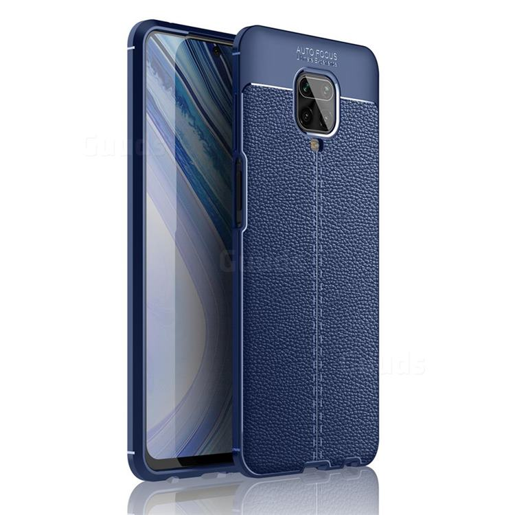 Luxury Auto Focus Litchi Texture Silicone TPU Back Cover for Xiaomi Redmi Note 9s / Note9 Pro / Note 9 Pro Max - Dark Blue
