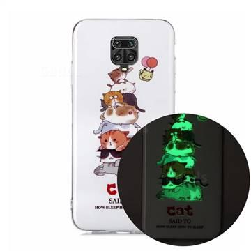 Cute Cat Noctilucent Soft TPU Back Cover for Xiaomi Redmi Note 9s / Note9 Pro / Note 9 Pro Max