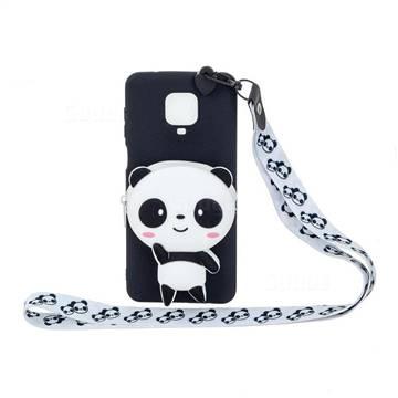 White Panda Neck Lanyard Zipper Wallet Silicone Case for Xiaomi Redmi Note 9s / Note9 Pro / Note 9 Pro Max