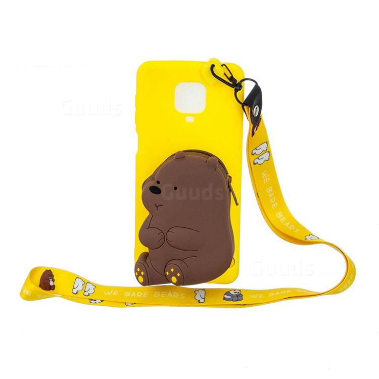 Yellow Bear Neck Lanyard Zipper Wallet Silicone Case for Xiaomi Redmi Note 9s / Note9 Pro / Note 9 Pro Max